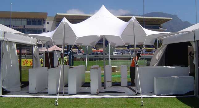 A white stretch tent attached to marquees at the 2009 J&B Met in South Africa.