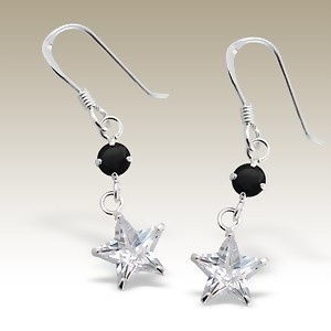 Cubic Zirconia stone earings - Finishing: Hand polished 925 Sterling silver+E-coat 925 Sterling silver Design from Bangkok925.com  Dimensions:  2cm.  nice  Silver CZ Earrings at $6.13