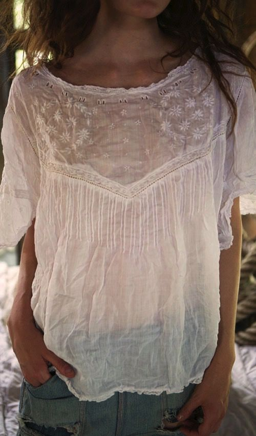 Linen Ramie Wensley Blouse with Embroidery, Cotton Lace Inserts, Pin Tucks and Ribbon Holes