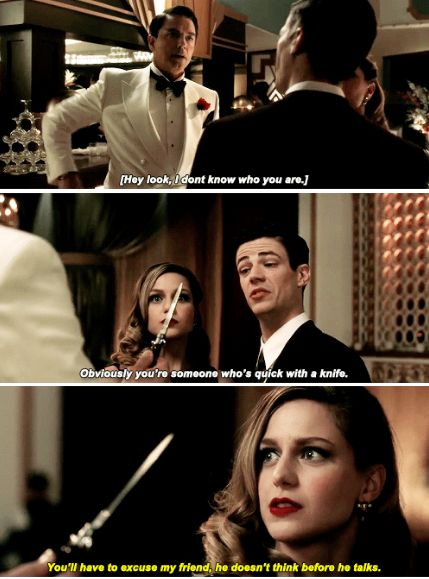 "Lol, this episode was hilarious. Kara and Barry make a funny team, and I love how easily someone like ""Cutter Moran"" can intimidate them when they don't have their powers ;) 