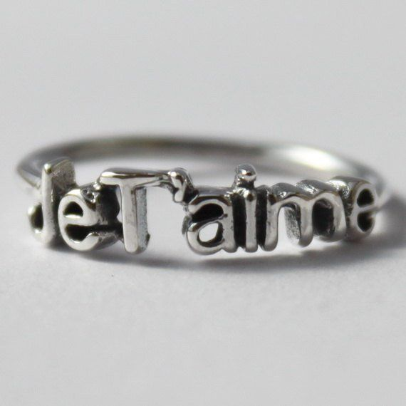 Sterling Silver JeT'aime stacking ring, Poetic French word