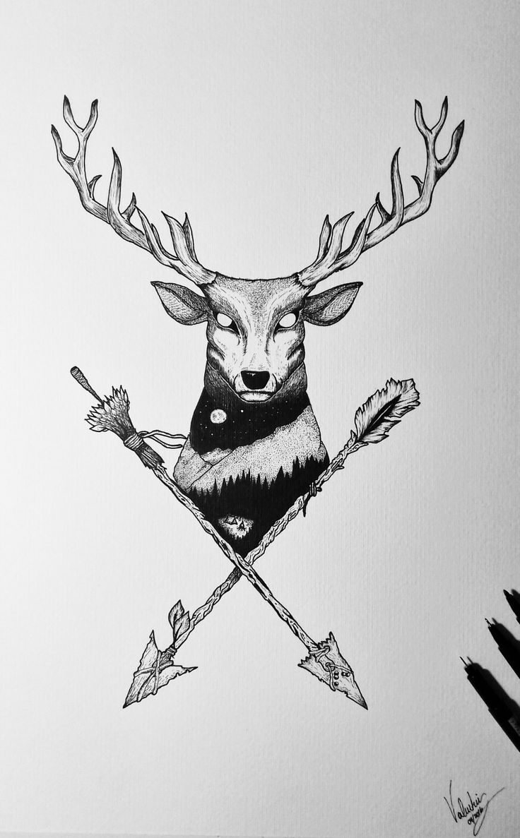 Deer tattoo Venado tatuaje Flechas Arrow Puntillismo Woods Bosque tatuaje