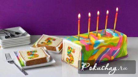 Цветной кекс на День рождения, вкусный рецепт