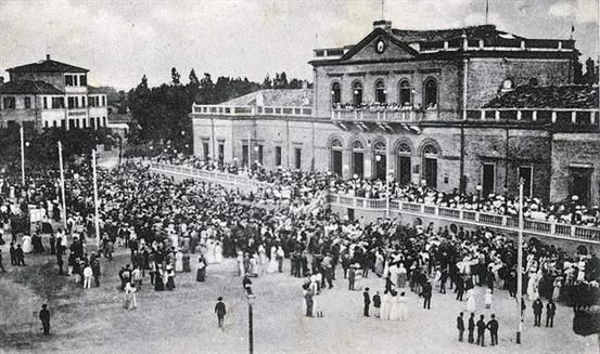 Rimini's Kursaal - demolished after the war, from 1873 when it was inaugurated, the Kursaal was the focal point of Rimini's bathing tourism.