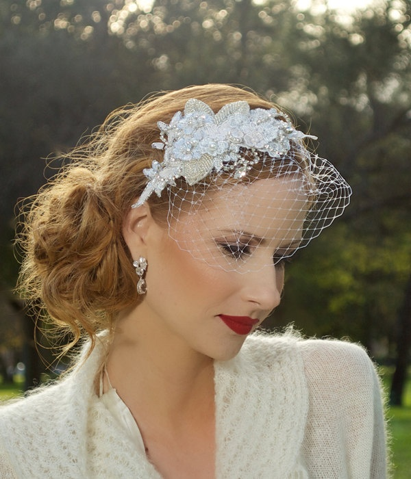 Vintage Wedding Headpieces: Bridal Headpiece, Crystal Headpiece, Silver, Vintage, Lace