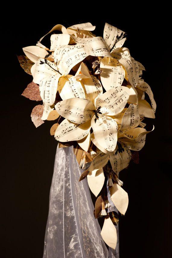 Sheet music wedding flowers Paper Lily cascade by JackdawDecor