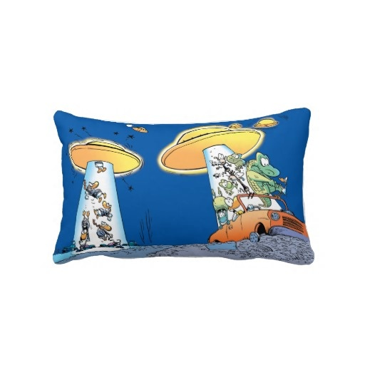 Swamp Alien abduction pillow. There are visitors from another dimension and they have caught the characters in the tractor beam. $59.95