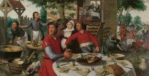 La Fiesta de campesinos ( 1550, Kunsthistorisches Museum, Viena) presente en esta exhibición, es fruto de discrepancia entre los expertos. En este óleo unos ven un canto al campesino idealizado. Otros, como las fuentes del museo Boijmans, ven más una caricatura histriónica hecha con ánimo de provocar la carcajada del comprador del cuadro.