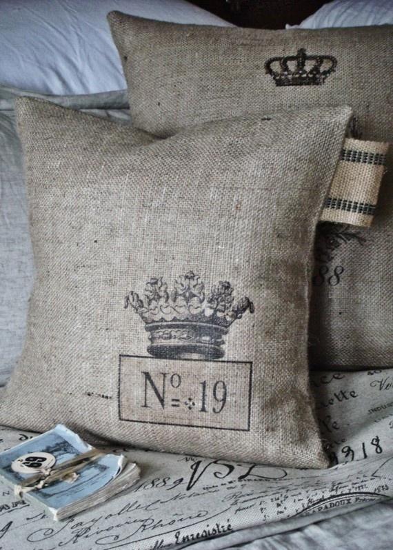 crown burlap pillow
