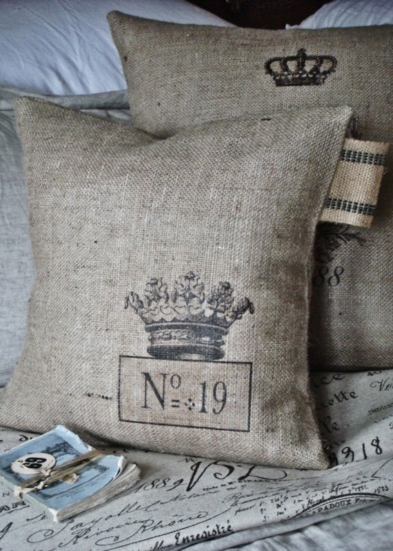 crown burlap pillow