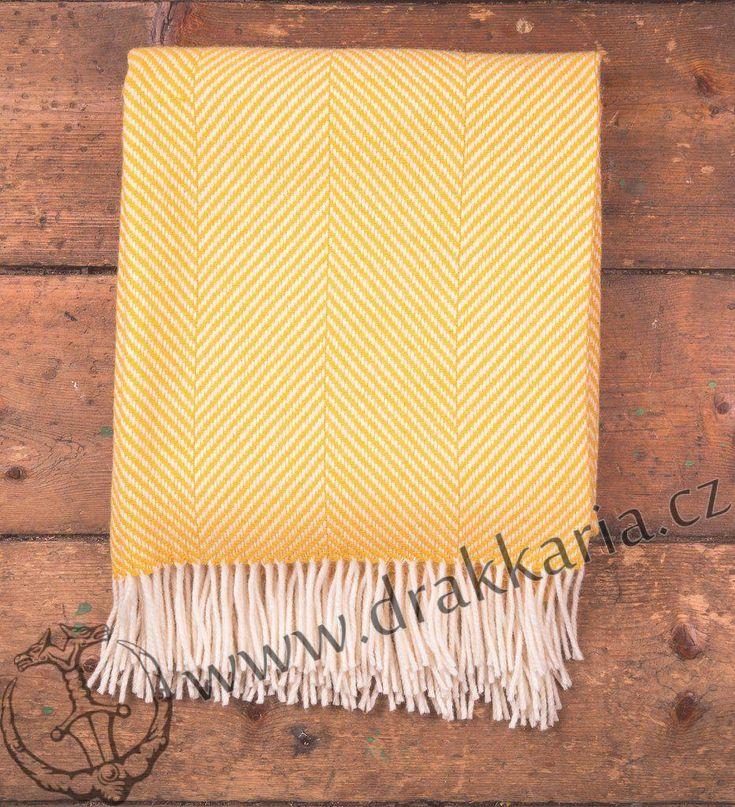 Yellow Herringbone, luxusní vlněná deka, Merino, Irsko