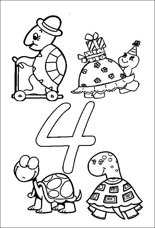 Animal Numbers Four Turtles
