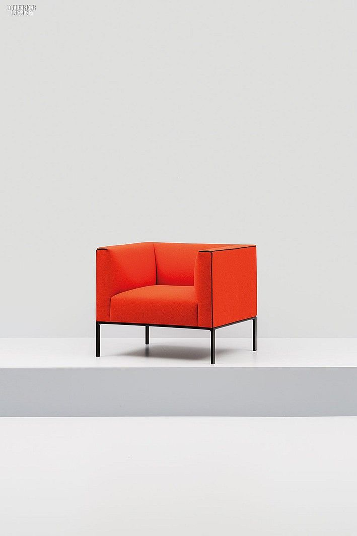 Available as a chair, a sofa, or a corner unit, Andreu World's Raglan sorts a tightly fitted upholstered body on an injection-molded aluminum frame that can be powder-coated black or white or simply polished.