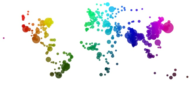 590 cities / hue = longitude, value = latitude: 590 Cities, Geographical Science, Circle Map, City Maps, Dsi Mapping, World Maps, Cities Colors, Cities Map