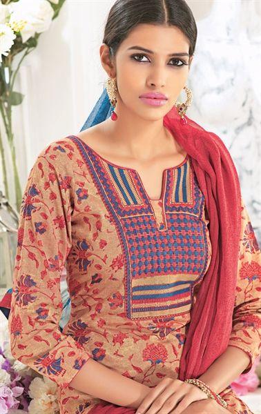 Picture of Biscuite Cream Color Cotton #Salwar Kameez