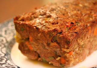 Lamb and beef meatloaf with Moroccan seasonings, onion, carrot, celery, garlic, ginger, paprika, cumin, curry powder, cayenne, cinnamon, cilantro, and mint. And I would do anything for...