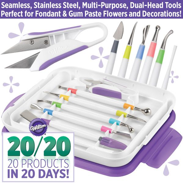 Create beautiful fondant decorations and gum paste flowers using Wilton's 8 Piece Modeling Tool Set. The new tools are stainless steel, which is preferred by decorators for precise shaping, detailing and elegant flower making.