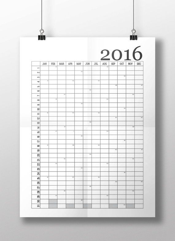 Printable wall calendar for year 2016 Typographic by DtimesThree