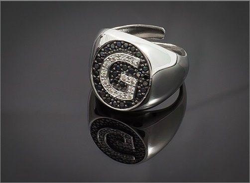Anello Donna Think Positive regolabile con iniziale G in argento 925 e swarovski