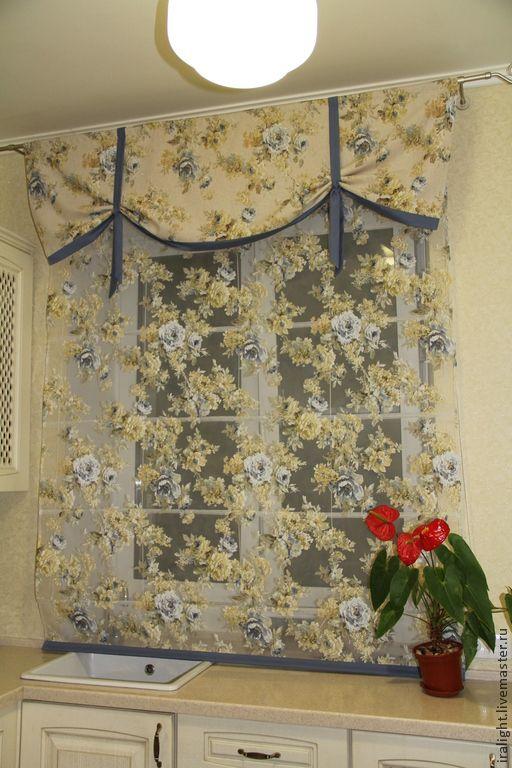 Купить Римская штора Прованс - голубой, прованс, прованский стиль, римская штора, шторы для кухни