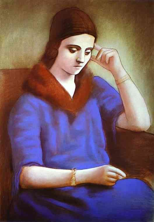"""Portrait of Olga Picasso"" in 1922-23 by Pablo Picasso. Pastel"