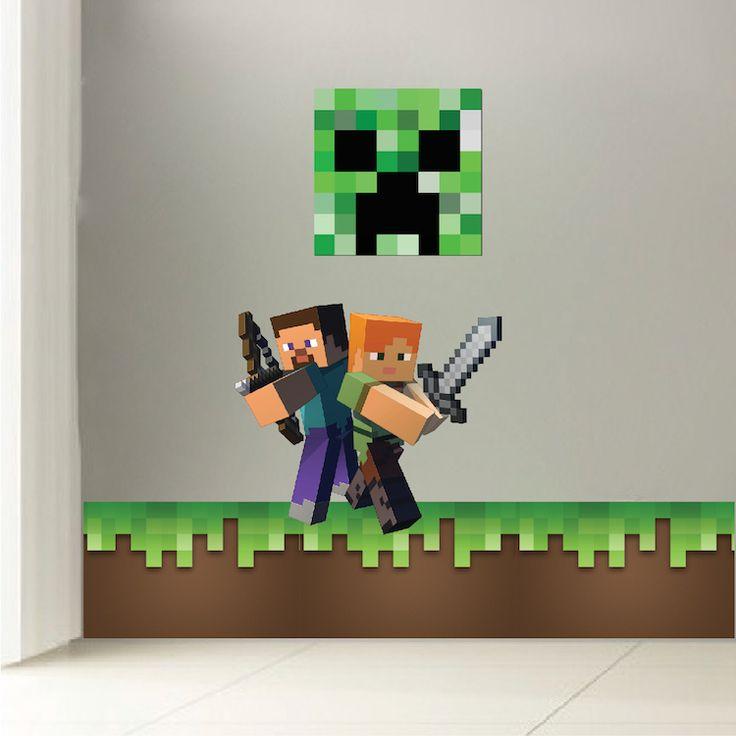 Minecraft grass wall decal kids 39 room decals pinterest for Minecraft kids room