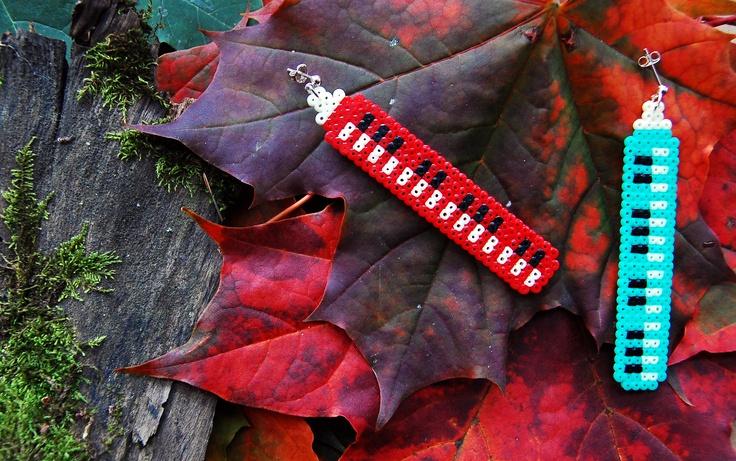 Melodica earrings (soprano & alto) (mini hama beads)