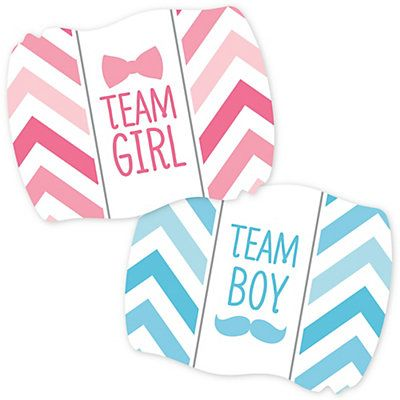Chevron Gender Reveal Baby Shower Party Supplies   Gender Reveal Team  Stickers   16 Ct |