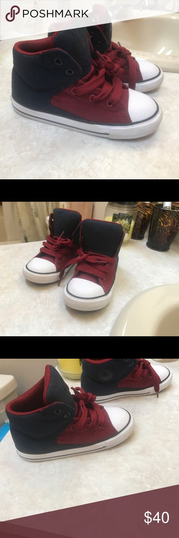 Converse high tops boys sneakers Navy and red converse high top sneakers toddler boy. Excellent condition worn once for a picture Converse Shoes Sneakers