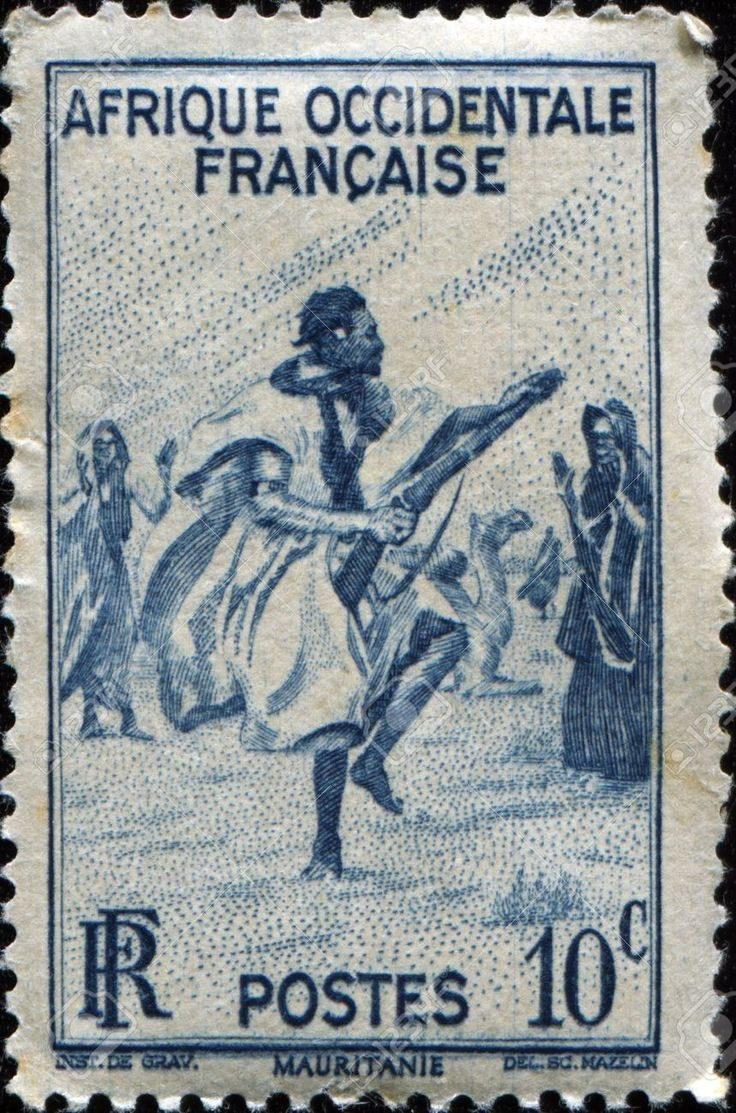 FRANCE - CIRCA 1947 A stamp printed for French West Africa shows War Dance.