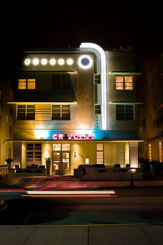 Art Deco in Miami South Beach at night by ninetwofour, via Flickr