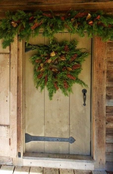 Rustic front door garland and wreath prim christmas for Door garland christmas