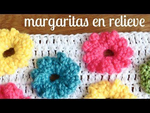 MARGARITAS en RELIEVE a crochet - YouTube ༺✿ƬⱤღ http://www.pinterest.com/teretegui/✿༻