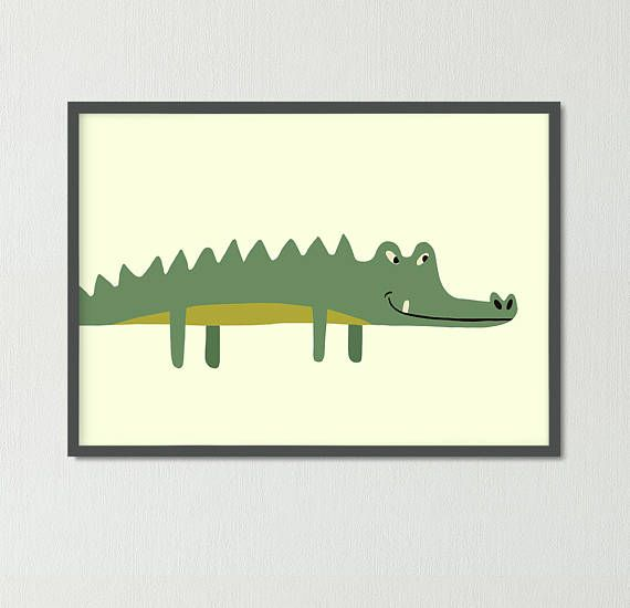 Cute crocodileNursery poster Animal print Child draw