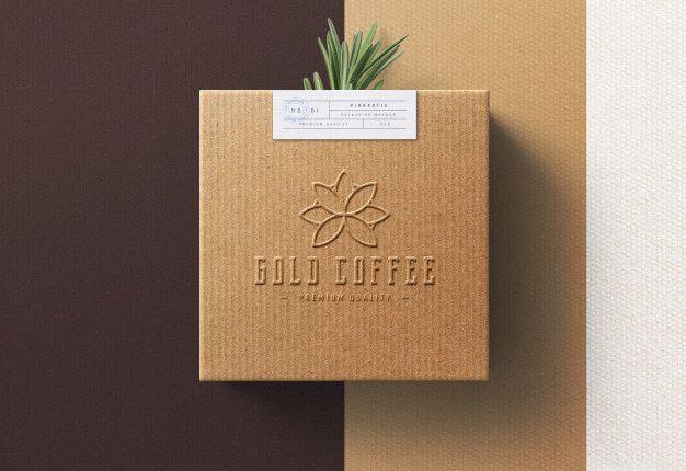 Download Logo Mockup On Coffee Box In 2020 Logo Mockup Coffee Box Kraft Box Packaging