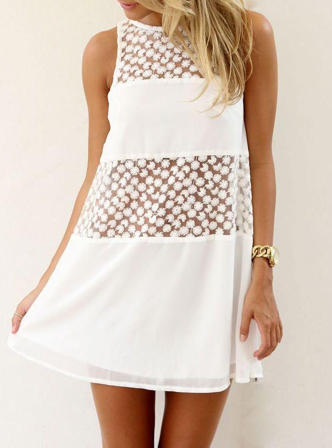 White Sleeveless Sheer Lace Loose Dress 18.33