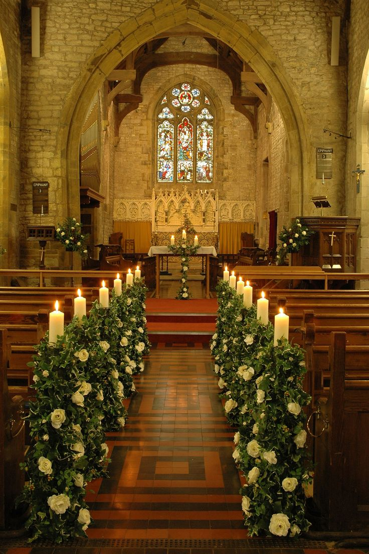 161 best wedding church decorations images on pinterest for Church wedding decorations