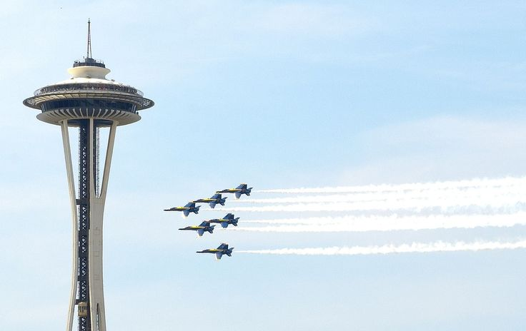 Navy Blue Angels, Seattle, Aircraft, Space Needle
