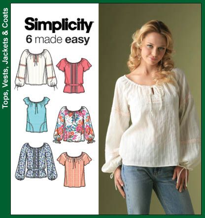 simplicity pattern for peasant blouse: Embroidered Fabrics, Simplicity Patterns For, Shirts Cardigans Patterns, Sheer Fabrics, Easy Patterns, Crepes, Patterns For Peasant, Peasant Blouses, Handkerchiefs Linens