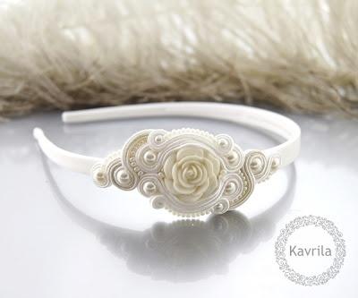 K Avril - Jewellery author. soutache Pascalli White Headband. size 7cm x 3.5cm