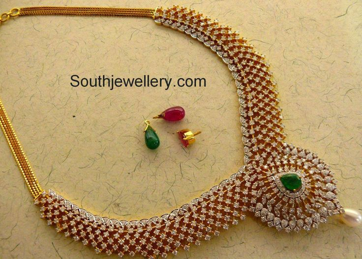 Stunning Diamond Necklace with Interchangeable Stones