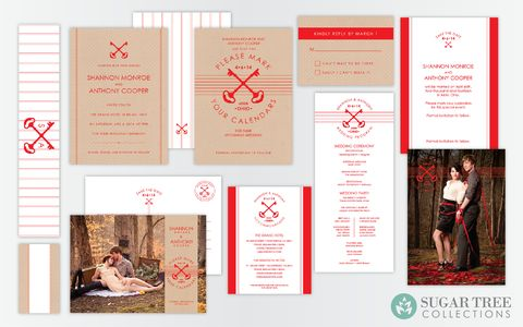 The full Red and Tan wedding stationery collection from Sugar Tree Paperie. Perfect for the rustic fall wedding. Collection includes wedding invitation, wedding save the date card, menu, program, placecard, accommodation card, and RSVP card.