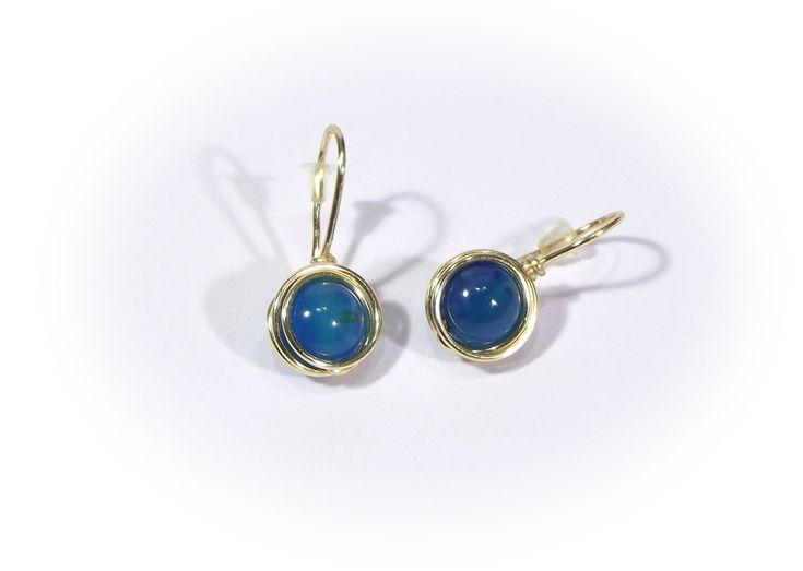 Small Earrings – Earrings - blue opals wire wrapping – a unique product by betulek on DaWanda