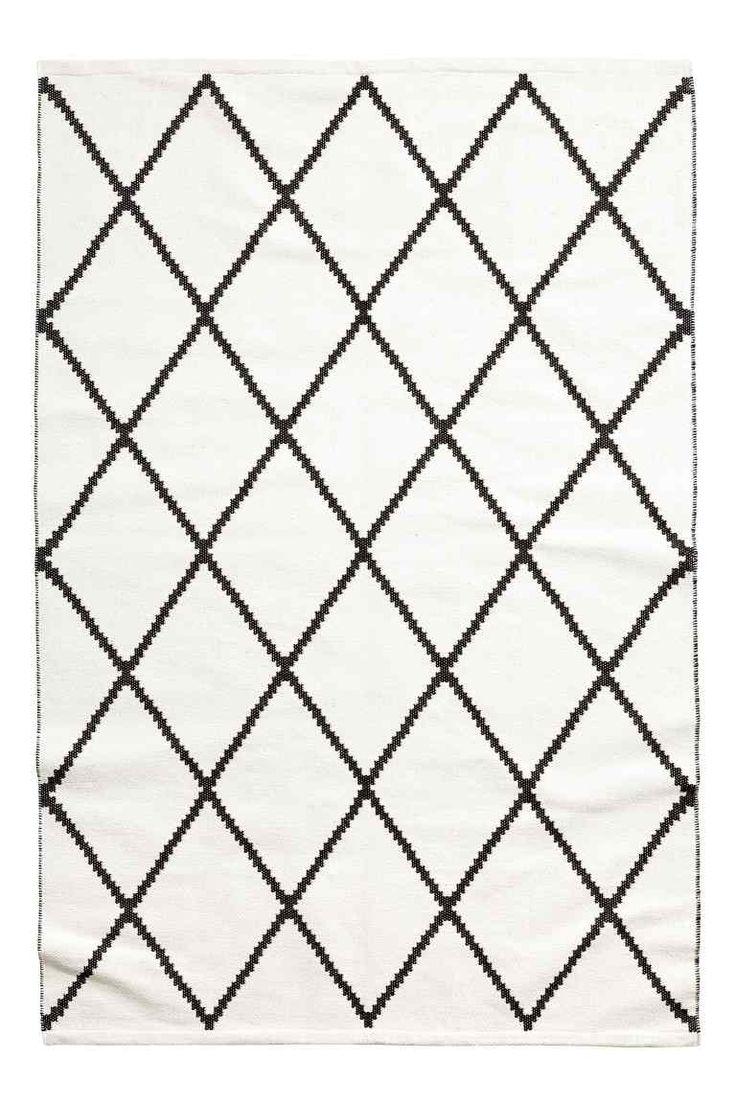 Жаккардовый хлопковый ковер - Белый/Черный рисунок - HOME | H&M RU 1