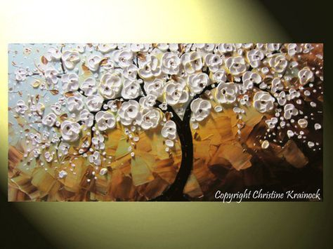 CUSTOM Art Abstract Painting White Cherry Tree Painting Blossoms Flowers Textured Palette Knife Blue Brown Gold MADE to ORDER -Christine Krainock - Christine Krainock Art - Contemporary Art by Christine - 1