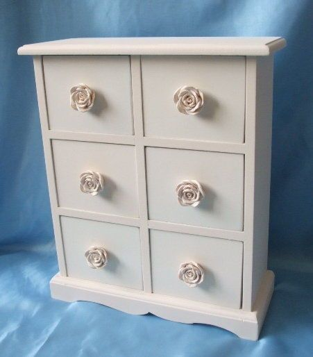 Shabby Chic 6 Drawer Mini Chest of Drawers With Rose Handles in Home, Furniture & DIY, Home Decor, Boxes, Jars & Tins | eBay
