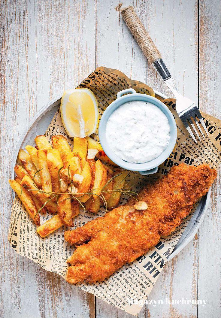 Fish&chips - baked chips and no mayo tartare sauce | Ryba z pieczonymi frytkami i sosem tatarskim bez majonezu