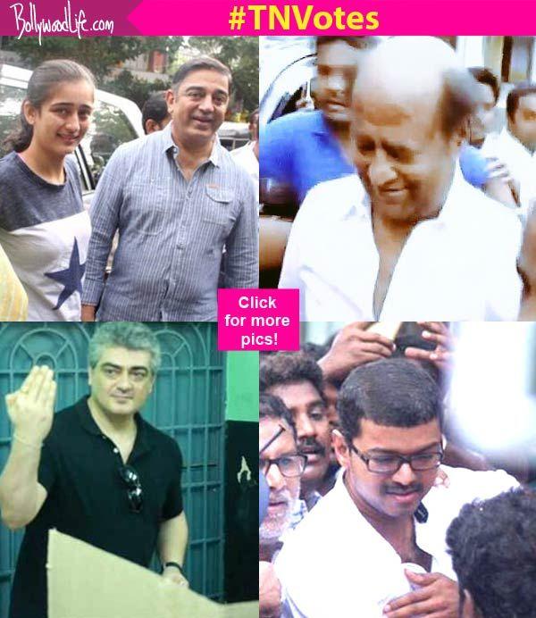 Rajinikanth Kamal Haasan Ajith Vijay Suriya cast their votes for Tamilnadu Elections 2016! View Pics!