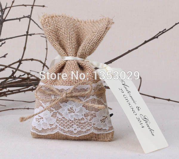 Livraison gratuite 80 pcs jute dentelle faveur de mariage boîte de mariage rustique Favor emballage sacs de faveur de mariage personnalisées et coffrets cadeaux dans Accessoires de fêtes et d'évènement de Maison & Jardin sur AliExpress.com | Alibaba Group