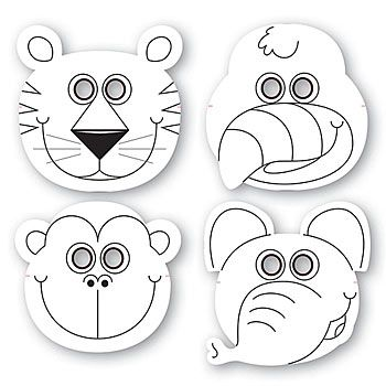 Jungle Buddies Color Your Own Mask, Jungle Animal Mask,These Jungle Buddies Color Your Own Mask include assorted styles of a tiger, parrot, monkey and elephant.